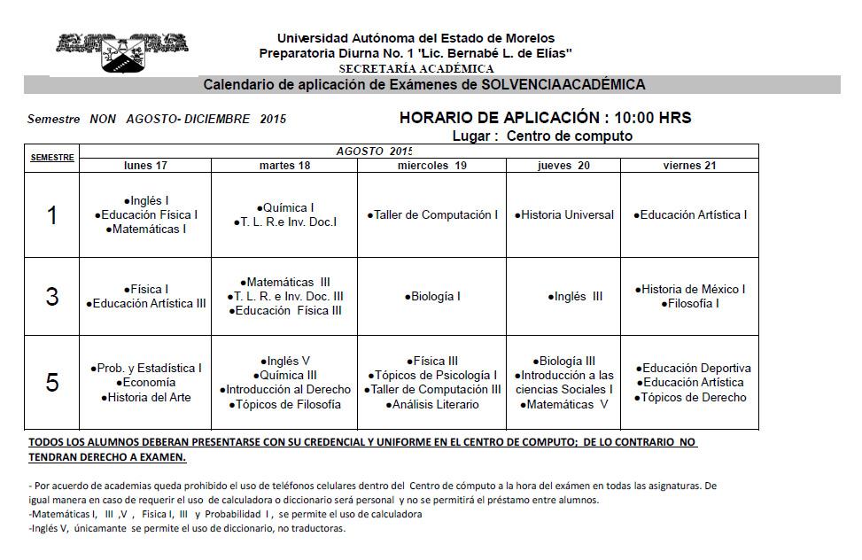 CALENDARIO EXAMENES SOLVENCIA ACADEMICA NON 2015