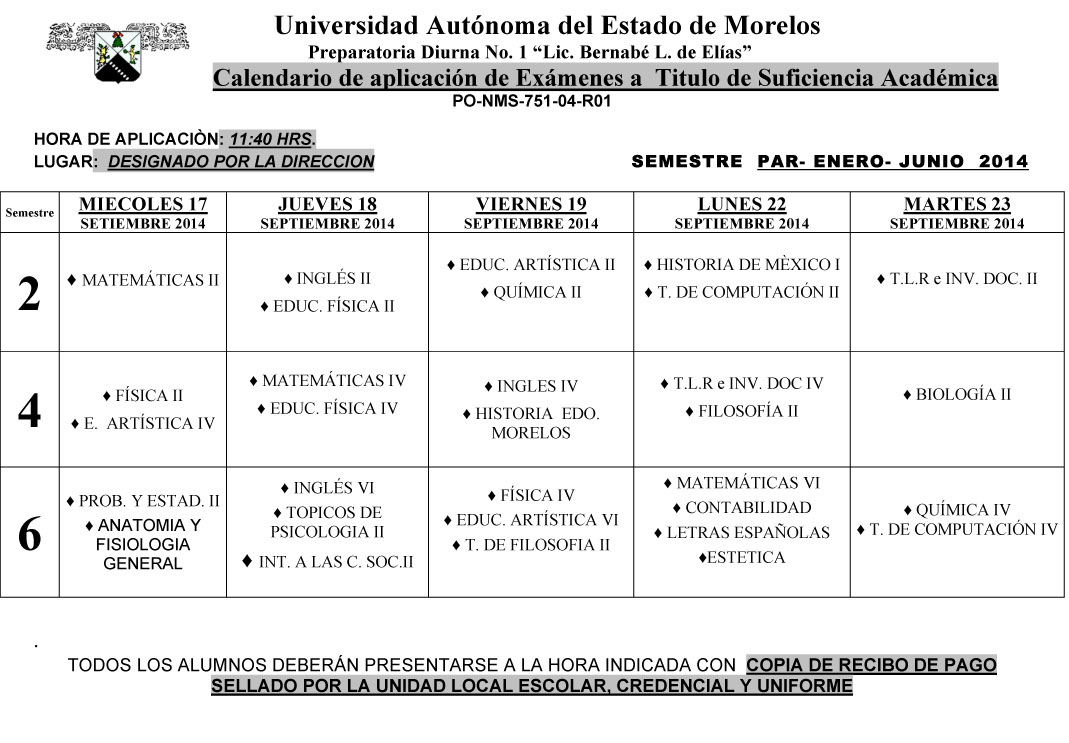Calendario Examen  TITULO SUFICIENCIA ENE-JUN..2014