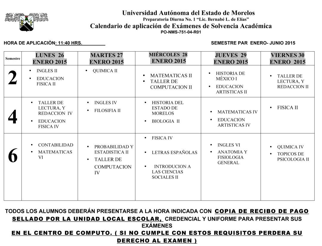 Calendario Examen Solvencia ENE- JUN-15