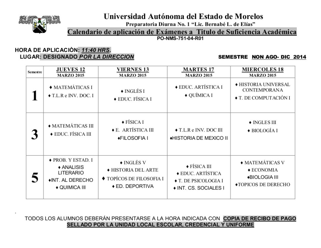 Calendario Examen  TITULO SUFICIENCIA ENE-JUN..2014
