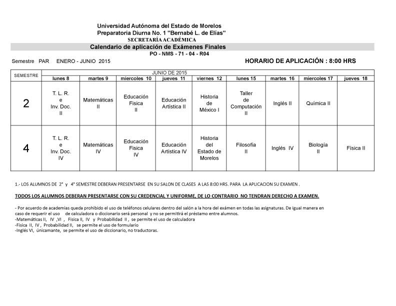 CALENDARIO EXAM FINALES 2-¦ Y 4-¦ SEM. PAR ENERO-JUNIO  2015