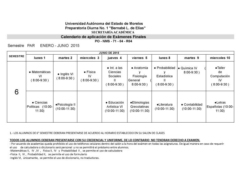 CALENDARIO EXAM. FINALES 3-¦ A+æOS PAR ENERO-JUNIO  2015