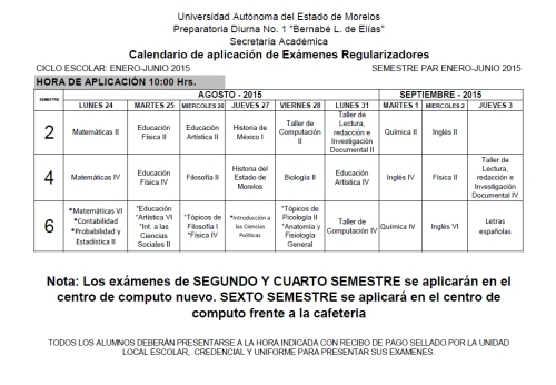 CALENDARIO EXAMENES REGULARIZADORES AGO-DIC 2015