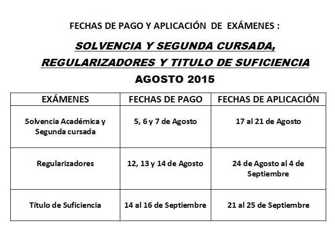 fechas de pago y aplicacion de exámenes