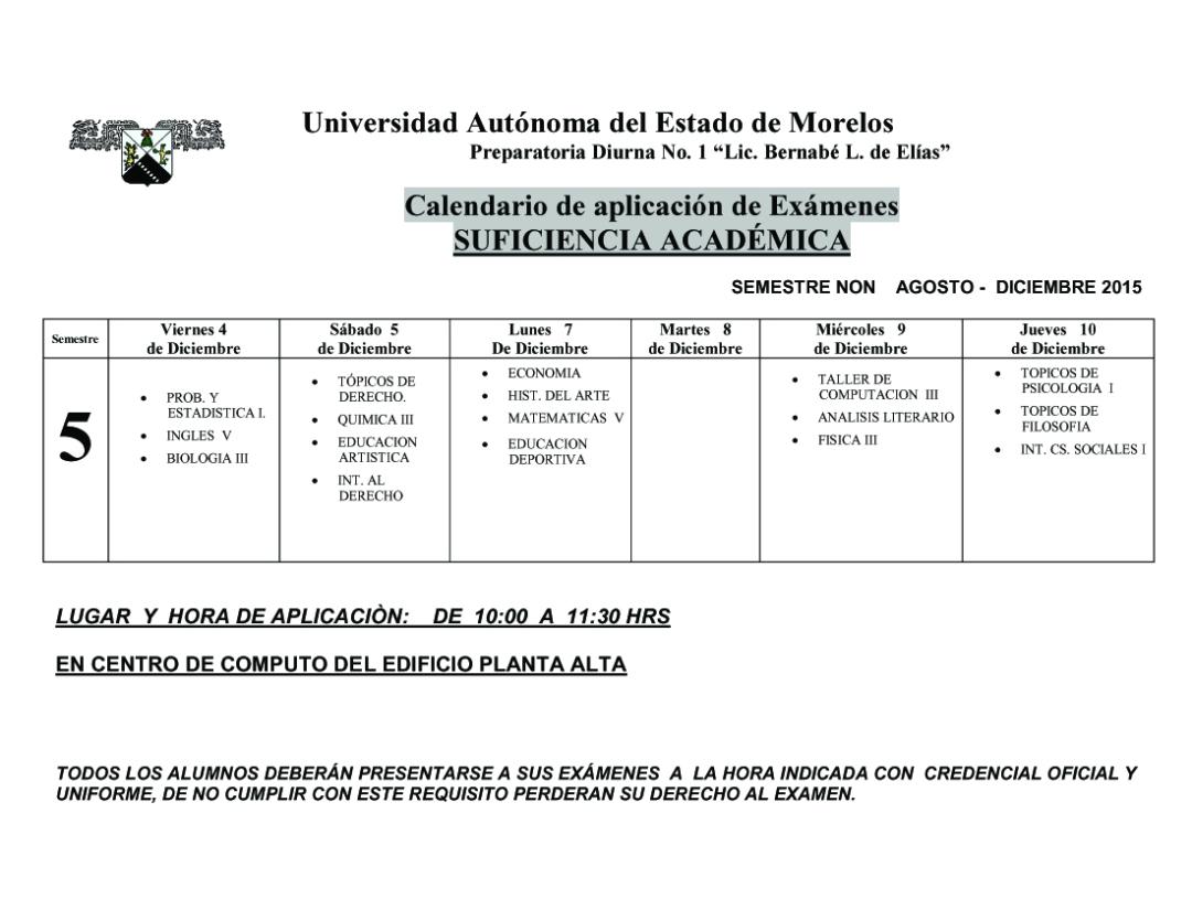 CALENDARIO EXAMENES  SUFICIENCIA ACADEMICA -CON HORARIOS2