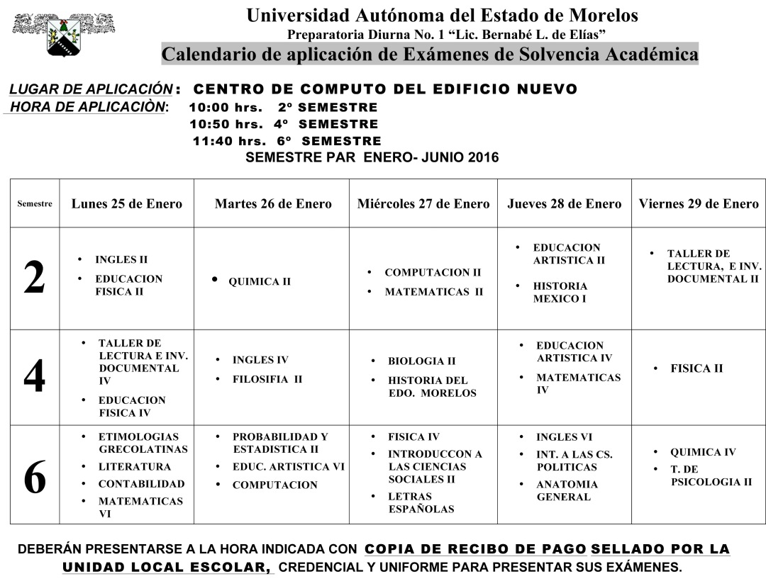 Calendario Examen Solvencia ENE- JUN-16