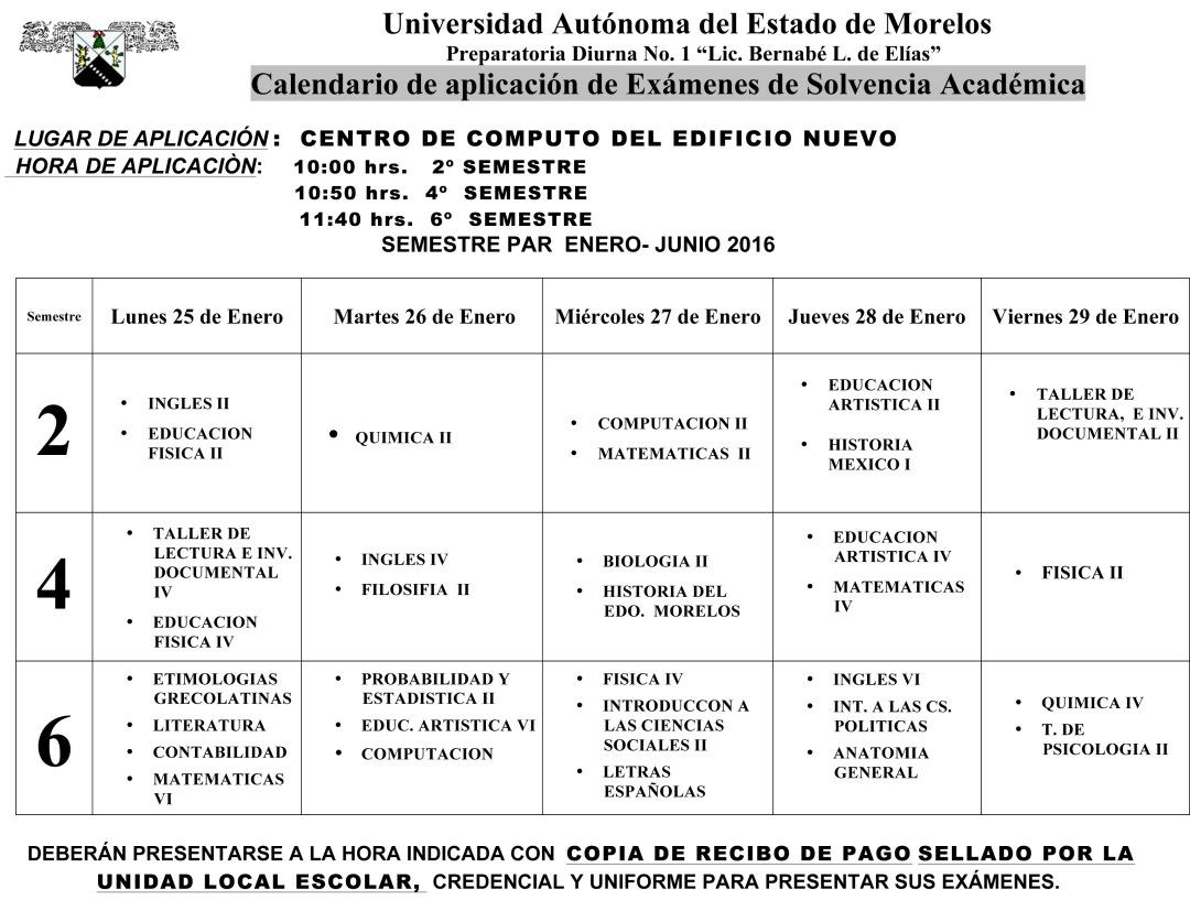 Calendario Examen Solvencia ENE- JUN-16