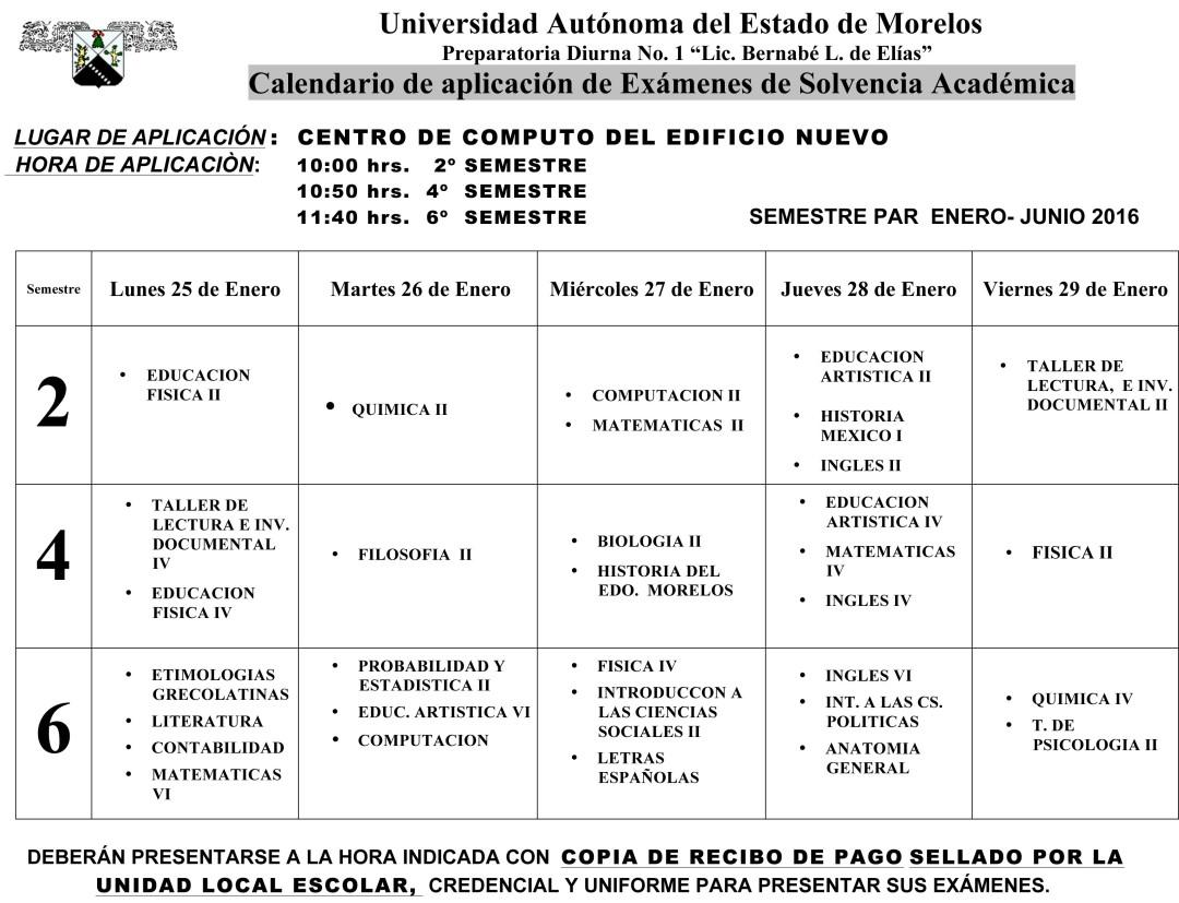 Microsoft Word - Calendario Examen Solvencia ENE- JUN-16.doc