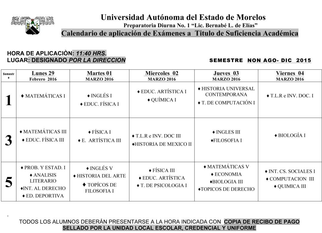 Calendario Examen  TITULO SUFICIENCIA   febrero-junio..2016