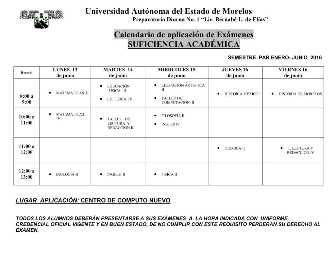 CALENDARIO EXAMENES  SUFICIENCIA ACADEMICA -CON HORARIOS1 copia