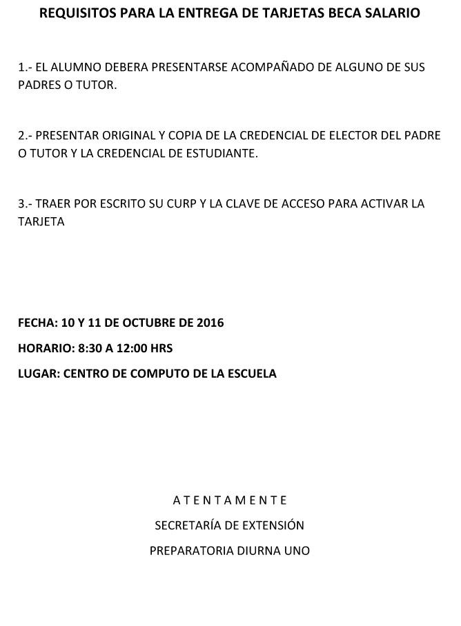 Microsoft Word - REQUISITOS PARA LA ENTREGA DE TARJETAS BECA SAL