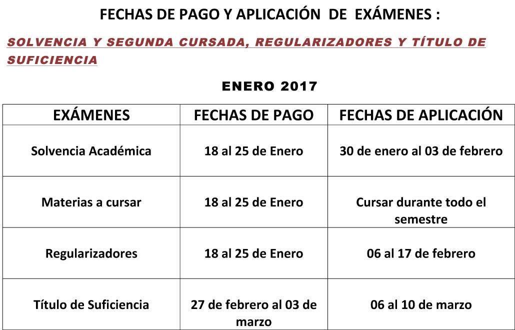 FECHAS DE APLICACI+™N Y  PAGO DE  EXAMENES 2017