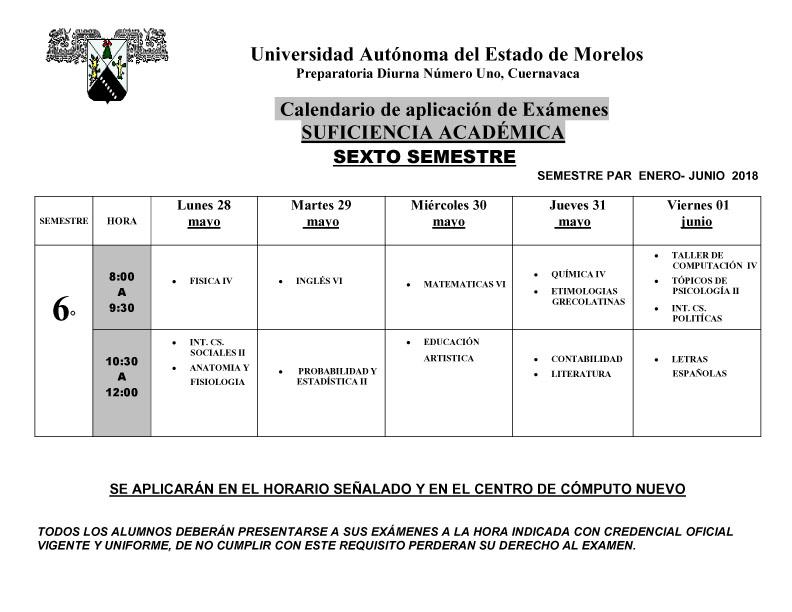 Calendario De Examenes.Calendario De Examenes De Suficiencia Academica Para Sexto Semestre