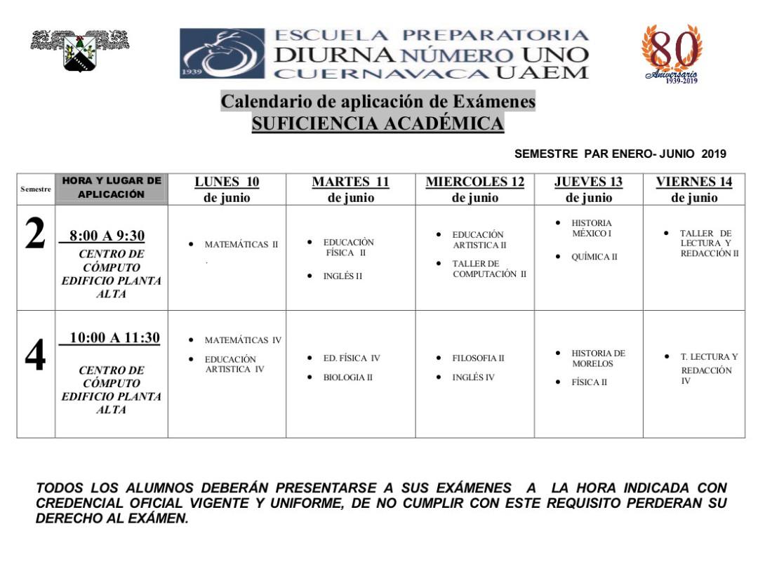 Calendario De Examenes.Calendario De Examenes De Suficiencia Academica De Primer Y Segundo